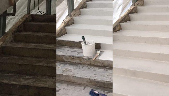 Før og efter billede af trappe med microcement